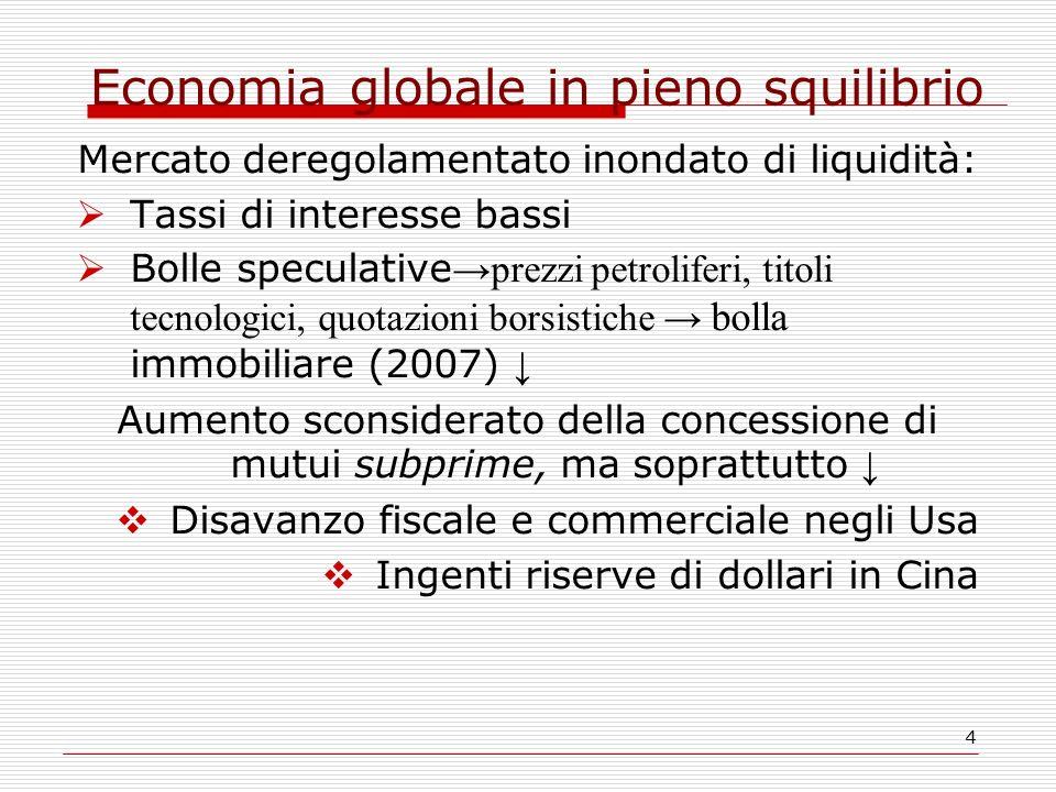 4 Economia globale in pieno squilibrio Mercato deregolamentato inondato di liquidità:  Tassi di interesse bassi  Bolle speculative →prezzi petrolife