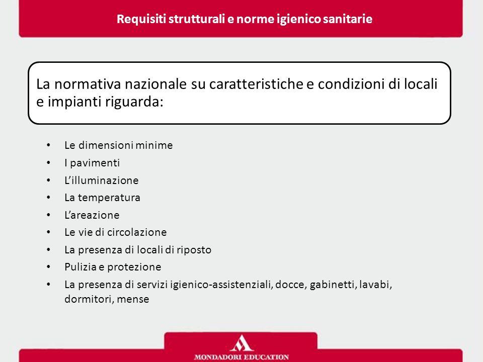 Requisiti strutturali e norme igienico sanitarie La normativa nazionale su caratteristiche e condizioni di locali e impianti riguarda: Le dimensioni m