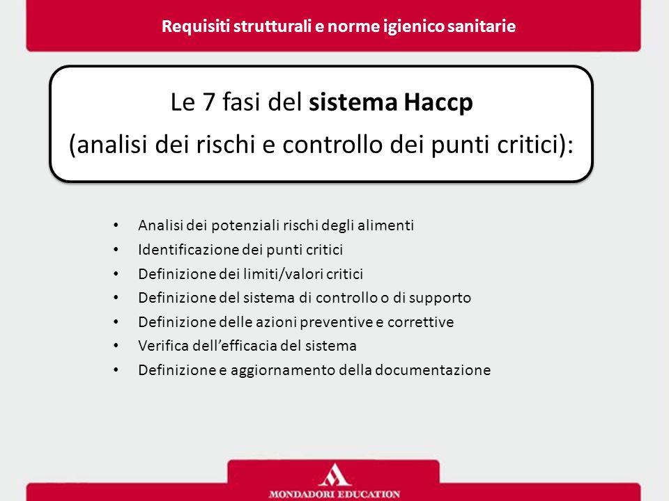 Le 7 fasi del sistema Haccp (analisi dei rischi e controllo dei punti critici): Analisi dei potenziali rischi degli alimenti Identificazione dei punti