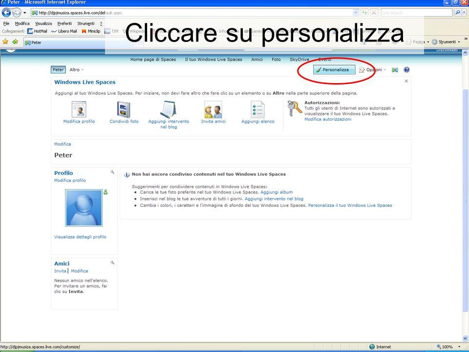 Cliccare su personalizza