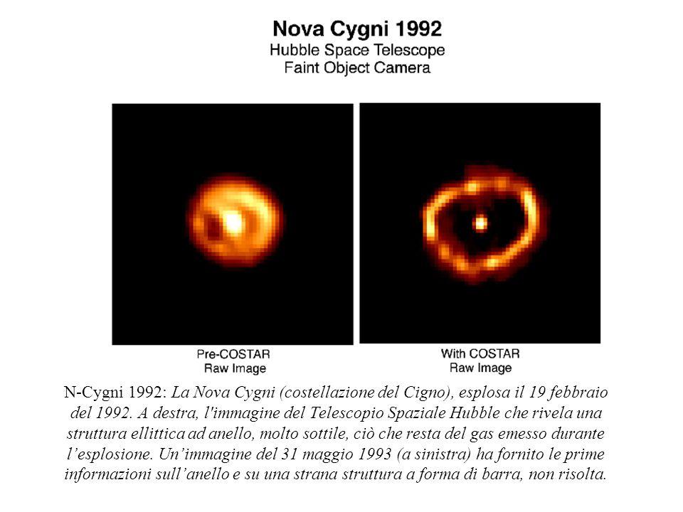 N-Cygni 1992: La Nova Cygni (costellazione del Cigno), esplosa il 19 febbraio del 1992. A destra, l'immagine del Telescopio Spaziale Hubble che rivela
