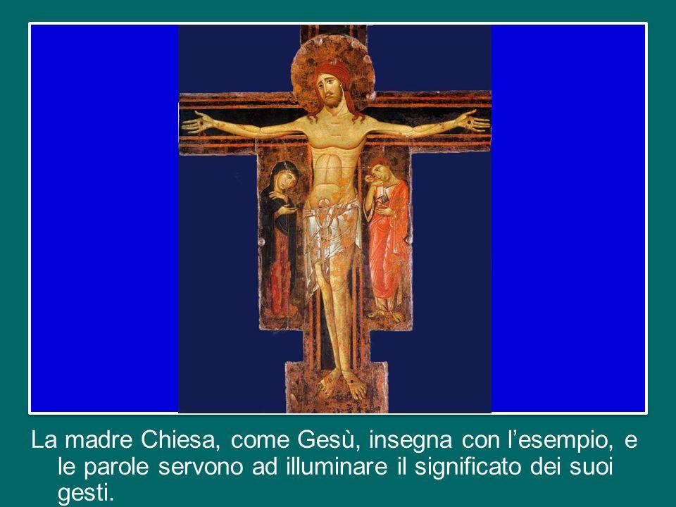 E allora la Chiesa si comporta come Gesù. Non fa lezioni teoriche sull'amore, sulla misericordia.