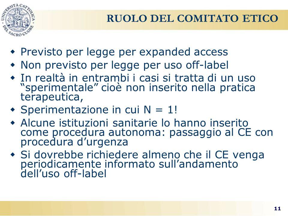 11 RUOLO DEL COMITATO ETICO  Previsto per legge per expanded access  Non previsto per legge per uso off-label  In realtà in entrambi i casi si tratta di un uso sperimentale cioè non inserito nella pratica terapeutica,  Sperimentazione in cui N = 1.