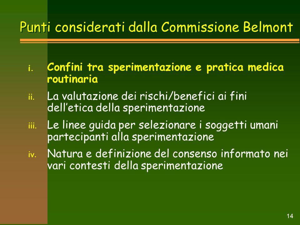 Punti considerati dalla Commissione Belmont i.