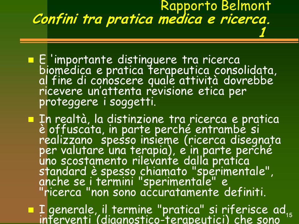 Rapporto Belmont Confini tra pratica medica e ricerca.