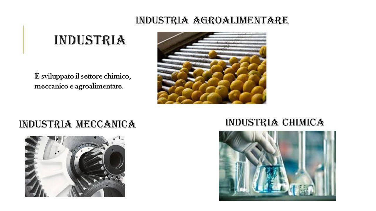 INDUSTRIA È sviluppato il settore chimico, meccanico e agroalimentare. INDUSTRIA MECCANICA INDUSTRIA AGROALIMENTARE INDUSTRIA CHIMICA