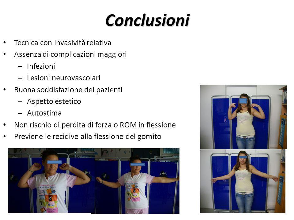 Conclusioni Tecnica con invasività relativa Assenza di complicazioni maggiori – Infezioni – Lesioni neurovascolari Buona soddisfazione dei pazienti –