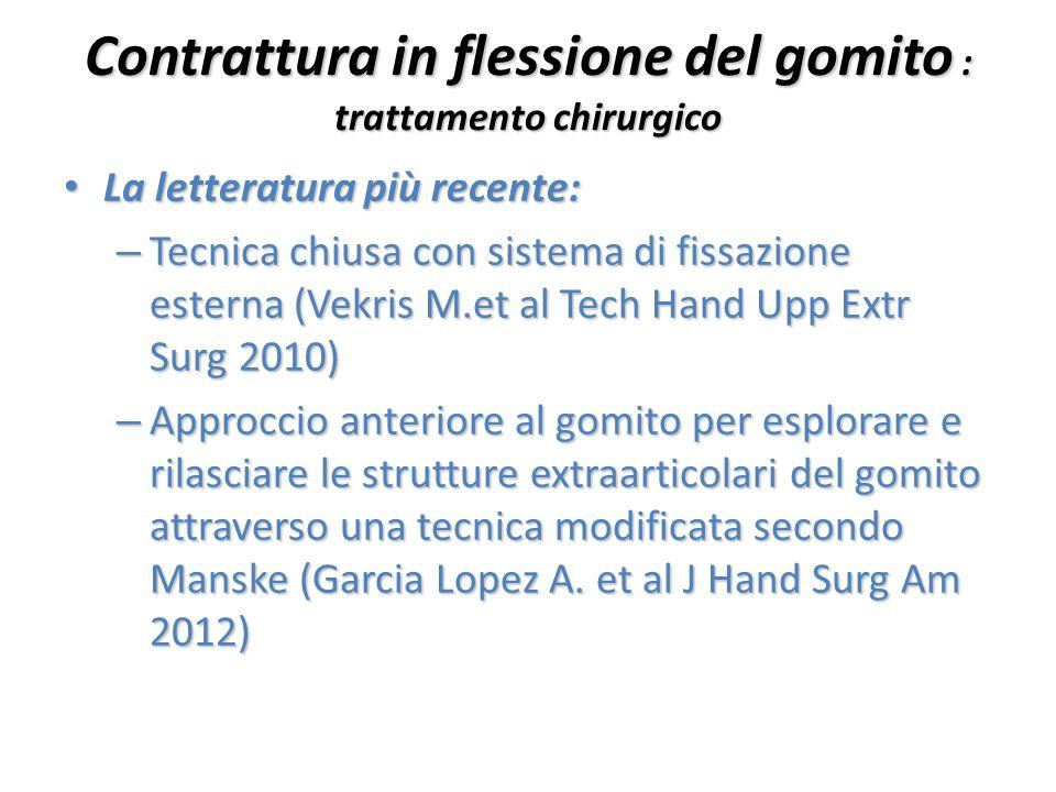 Contrattura in flessione del gomito : trattamento chirurgico La letteratura più recente: La letteratura più recente: – Tecnica chiusa con sistema di f
