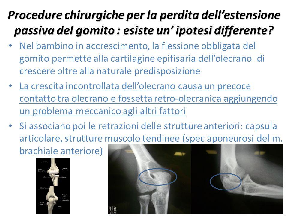 Procedure chirurgiche per la perdita dell'estensione passiva del gomito : esiste un' ipotesi differente? Nel bambino in accrescimento, la flessione ob