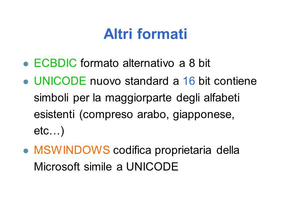 Altri formati l ECBDIC formato alternativo a 8 bit l UNICODE nuovo standard a 16 bit contiene simboli per la maggiorparte degli alfabeti esistenti (compreso arabo, giapponese, etc…) l MSWINDOWS codifica proprietaria della Microsoft simile a UNICODE