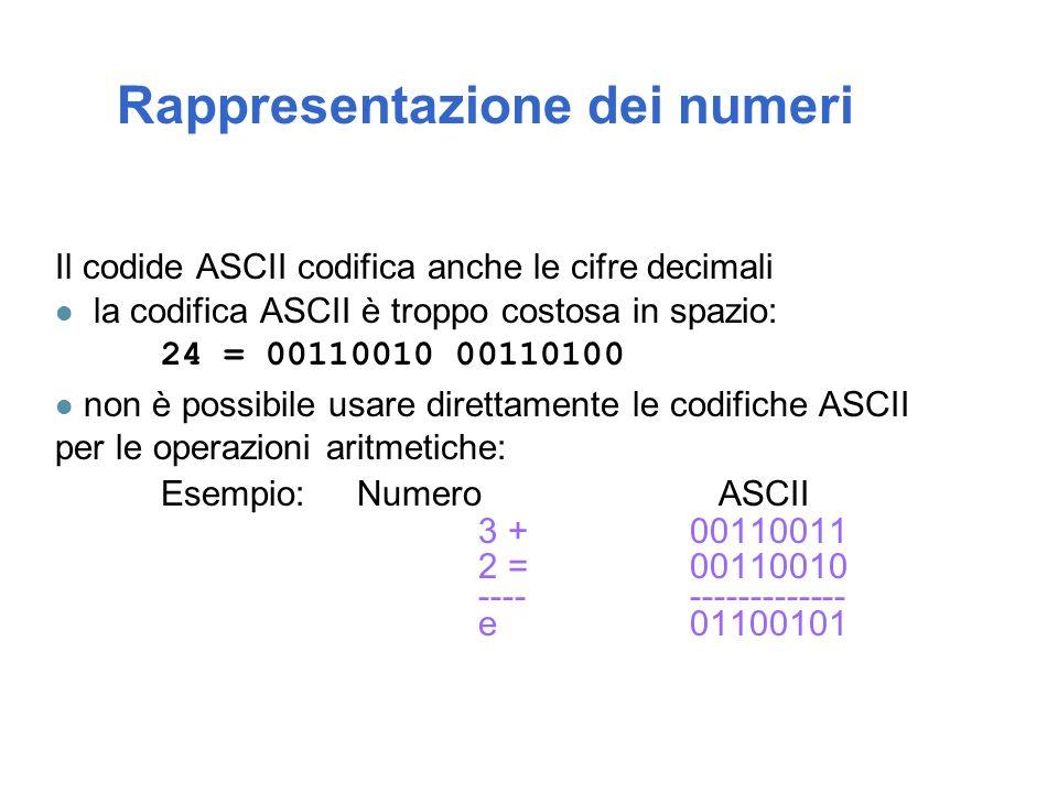 Il codide ASCII codifica anche le cifre decimali l la codifica ASCII è troppo costosa in spazio: 24 = 00110010 00110100 l non è possibile usare direttamente le codifiche ASCII per le operazioni aritmetiche: Esempio: Numero ASCII 3 +00110011 2 =00110010 ----------------- e01100101 Rappresentazione dei numeri