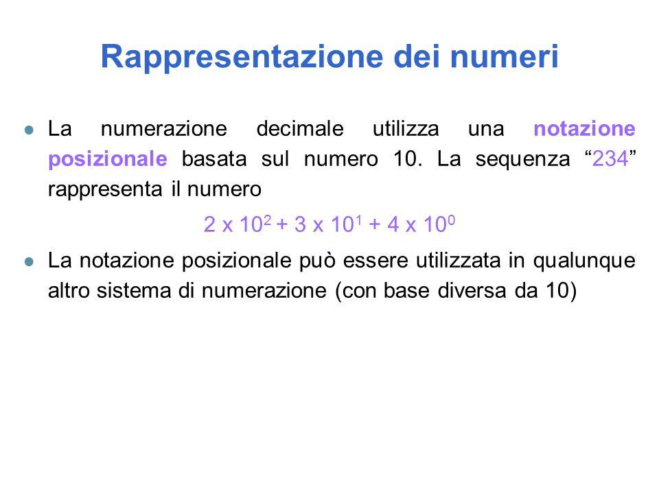l La numerazione decimale utilizza una notazione posizionale basata sul numero 10.