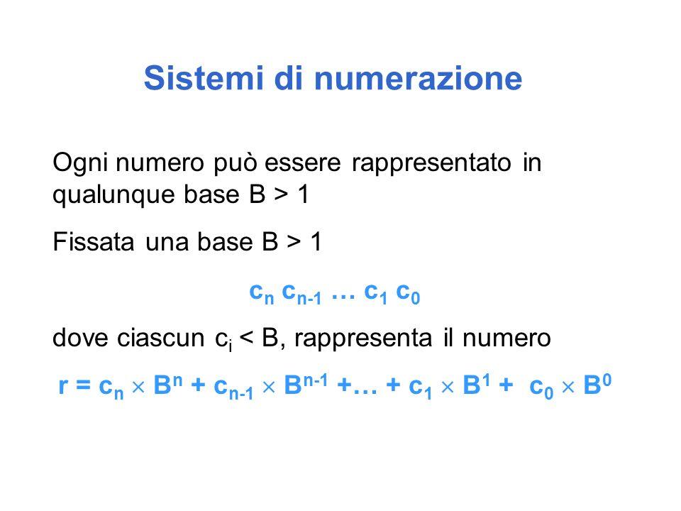 Sistemi di numerazione Ogni numero può essere rappresentato in qualunque base B > 1 Fissata una base B > 1 c n c n-1 … c 1 c 0 dove ciascun c i < B, rappresenta il numero r = c n  B n + c n-1  B n-1 +… + c 1  B 1 + c 0  B 0