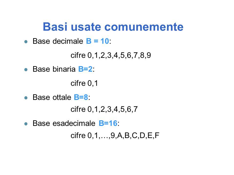 Basi usate comunemente l Base decimale B = 10: cifre 0,1,2,3,4,5,6,7,8,9 l Base binaria B=2: cifre 0,1 l Base ottale B=8: cifre 0,1,2,3,4,5,6,7 l Base esadecimale B=16: cifre 0,1,…,9,A,B,C,D,E,F