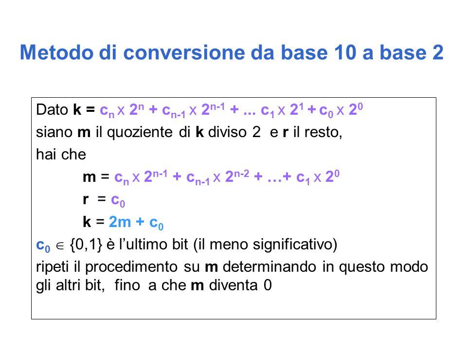 Metodo di conversione da base 10 a base 2 Dato k = c n x 2 n + c n-1 x 2 n-1 +...
