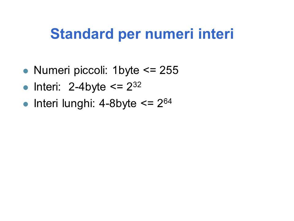 Standard per numeri interi l Numeri piccoli: 1byte <= 255 l Interi: 2-4byte <= 2 32 l Interi lunghi: 4-8byte <= 2 64