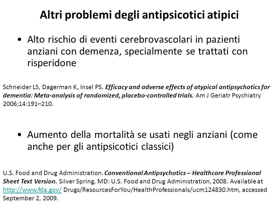 Altri problemi degli antipsicotici atipici Alto rischio di eventi cerebrovascolari in pazienti anziani con demenza, specialmente se trattati con rispe