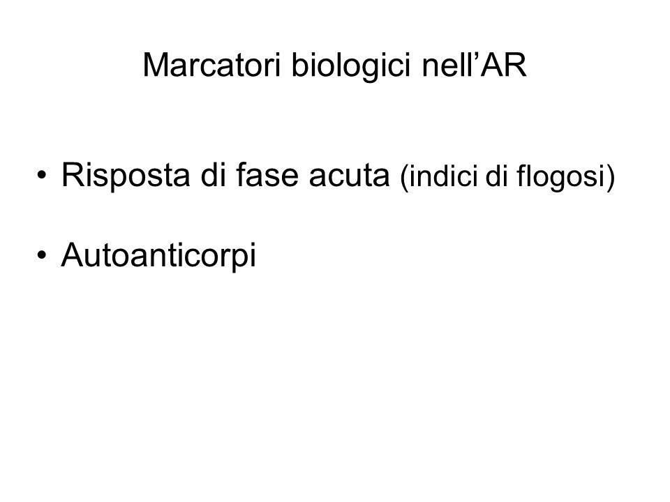 Marcatori biologici nell'AR Risposta di fase acuta (indici di flogosi) Autoanticorpi