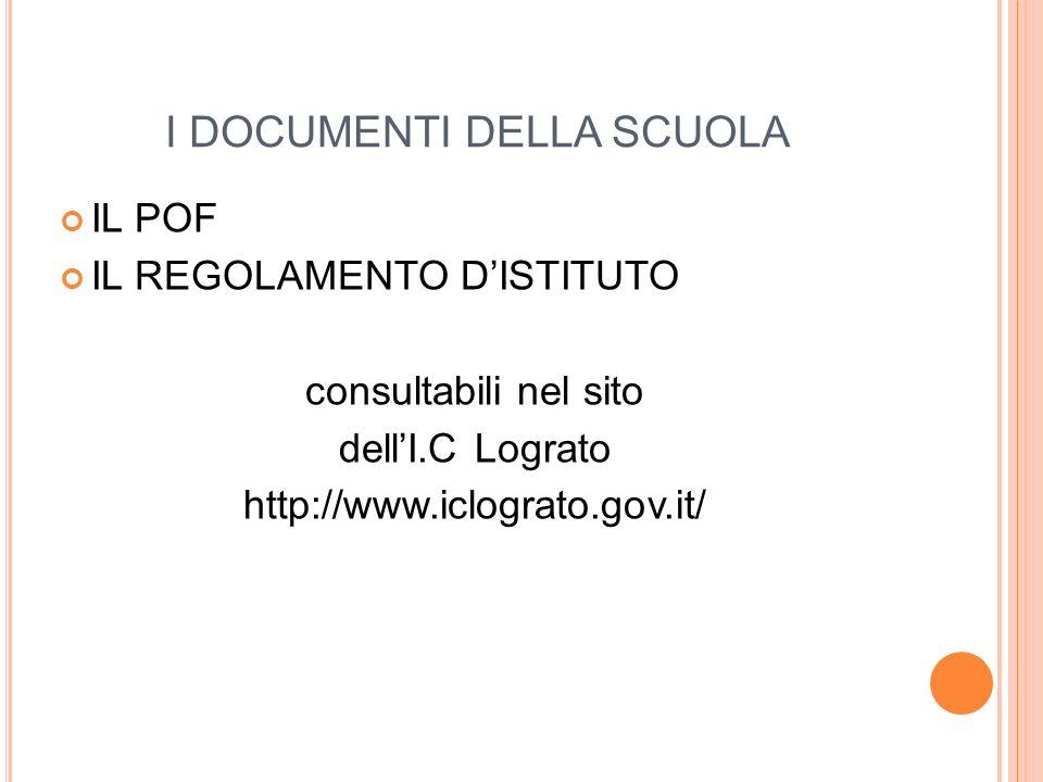 I DOCUMENTI DELLA SCUOLA IL POF IL REGOLAMENTO D'ISTITUTO consultabili nel sito dell'I.C Lograto http://www.iclograto.gov.it/