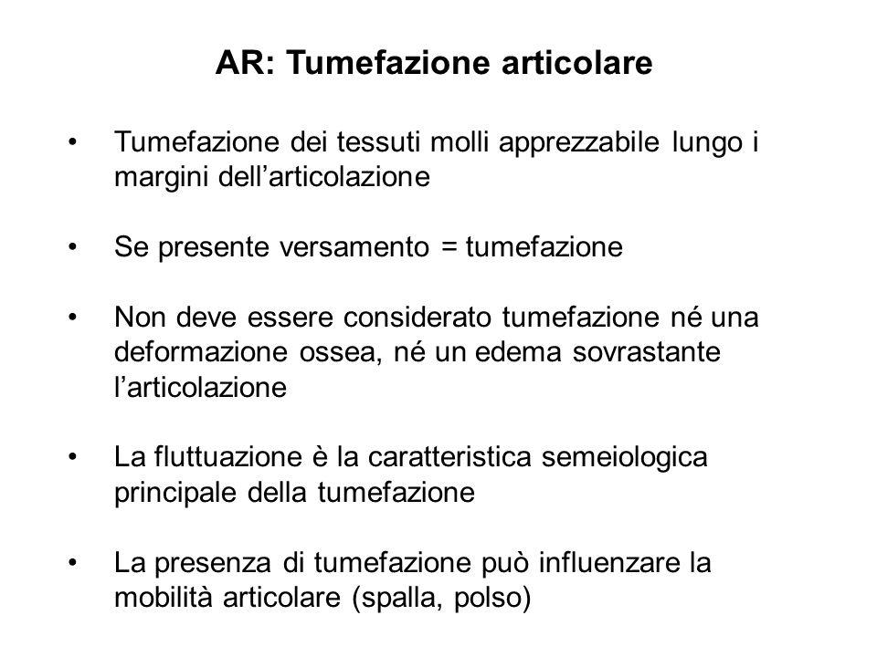 AR: Tumefazione articolare Tumefazione dei tessuti molli apprezzabile lungo i margini dell'articolazione Se presente versamento = tumefazione Non deve