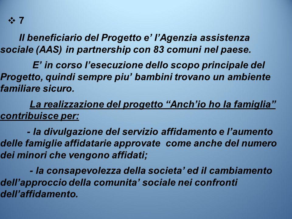 ❖7❖7 Il beneficiario del Progetto e' l'Agenzia assistenza sociale (AAS) in partnership con 83 comuni nel paese.
