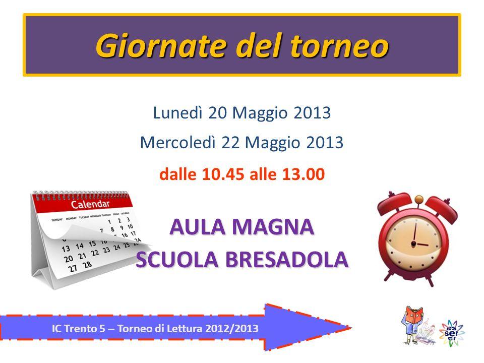 Giornate del torneo IC Trento 5 – Torneo di Lettura 2012/2013 Lunedì 20 Maggio 2013 Mercoledì 22 Maggio 2013 dalle 10.45 alle 13.00 AULA MAGNA SCUOLA BRESADOLA
