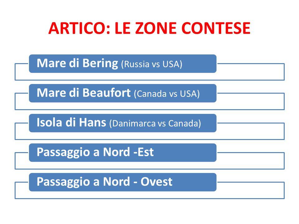 ARTICO: LE ZONE CONTESE Mare di Bering (Russia vs USA) Mare di Beaufort (Canada vs USA) Isola di Hans (Danimarca vs Canada) Passaggio a Nord -EstPassa