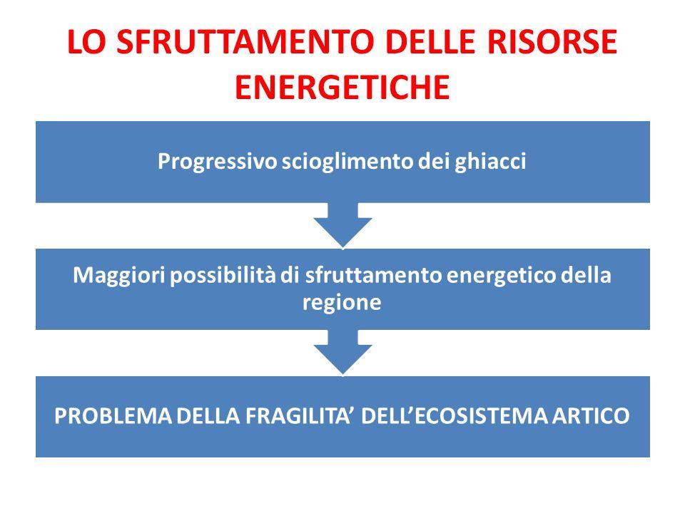 LO SFRUTTAMENTO DELLE RISORSE ENERGETICHE PROBLEMA DELLA FRAGILITA' DELL'ECOSISTEMA ARTICO Maggiori possibilità di sfruttamento energetico della regio