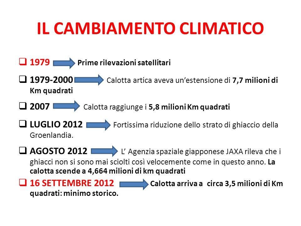 IL CAMBIAMENTO CLIMATICO  1979 Prime rilevazioni satellitari  1979-2000 Calotta artica aveva un'estensione di 7,7 milioni di Km quadrati  2007 Calo