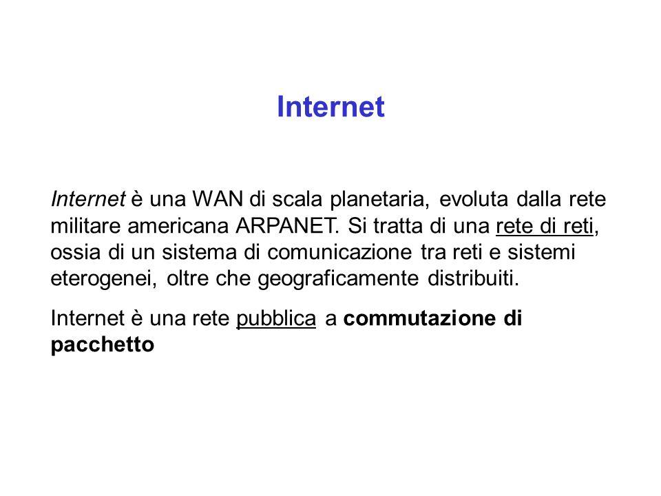 Internet Internet è una WAN di scala planetaria, evoluta dalla rete militare americana ARPANET.