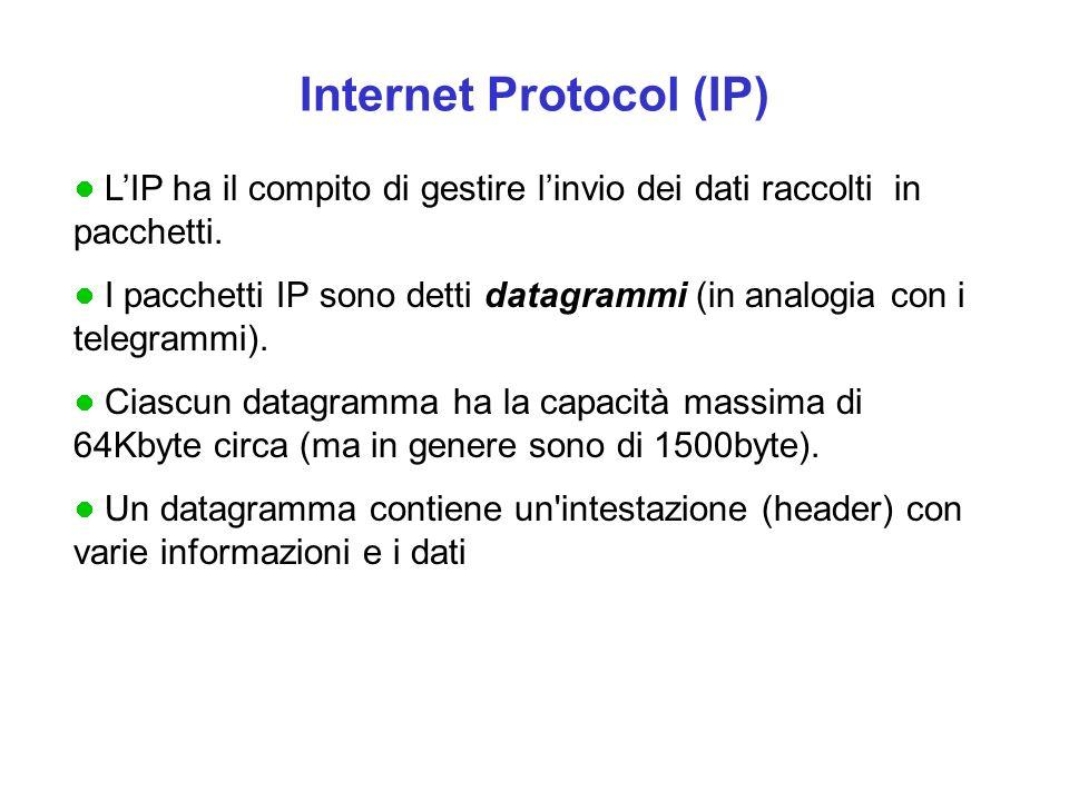 Internet Protocol (IP) L'IP ha il compito di gestire l'invio dei dati raccolti in pacchetti.