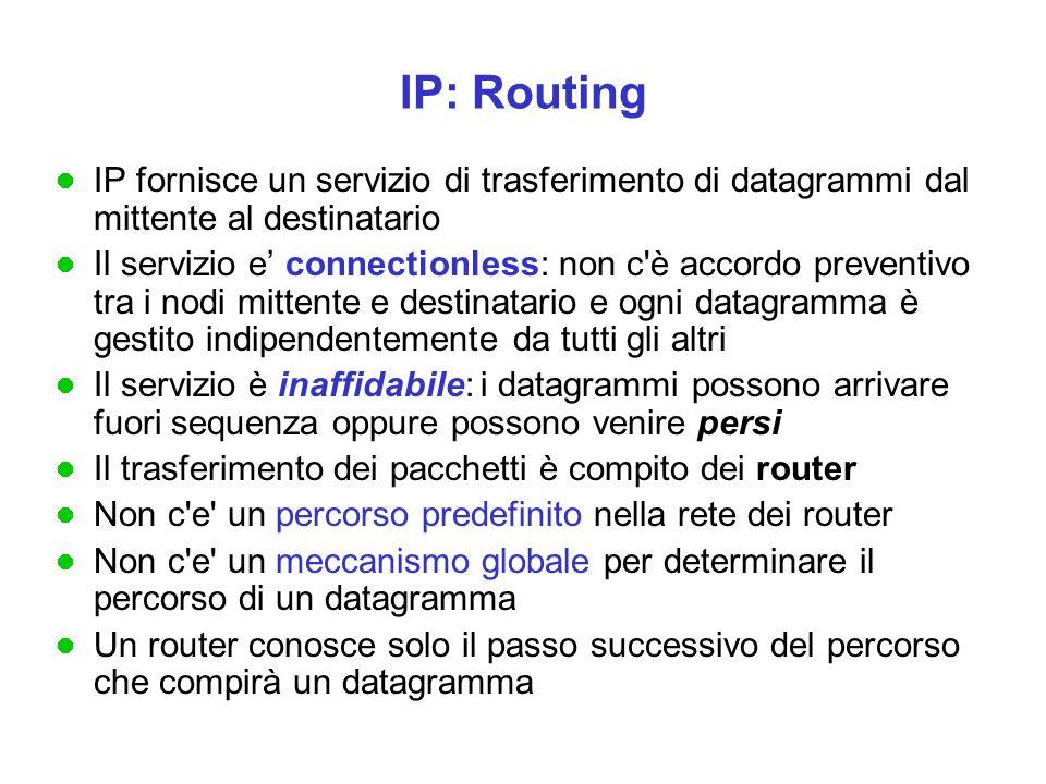 IP fornisce un servizio di trasferimento di datagrammi dal mittente al destinatario Il servizio e' connectionless: non c è accordo preventivo tra i nodi mittente e destinatario e ogni datagramma è gestito indipendentemente da tutti gli altri Il servizio è inaffidabile: i datagrammi possono arrivare fuori sequenza oppure possono venire persi Il trasferimento dei pacchetti è compito dei router Non c e un percorso predefinito nella rete dei router Non c e un meccanismo globale per determinare il percorso di un datagramma Un router conosce solo il passo successivo del percorso che compirà un datagramma IP: Routing