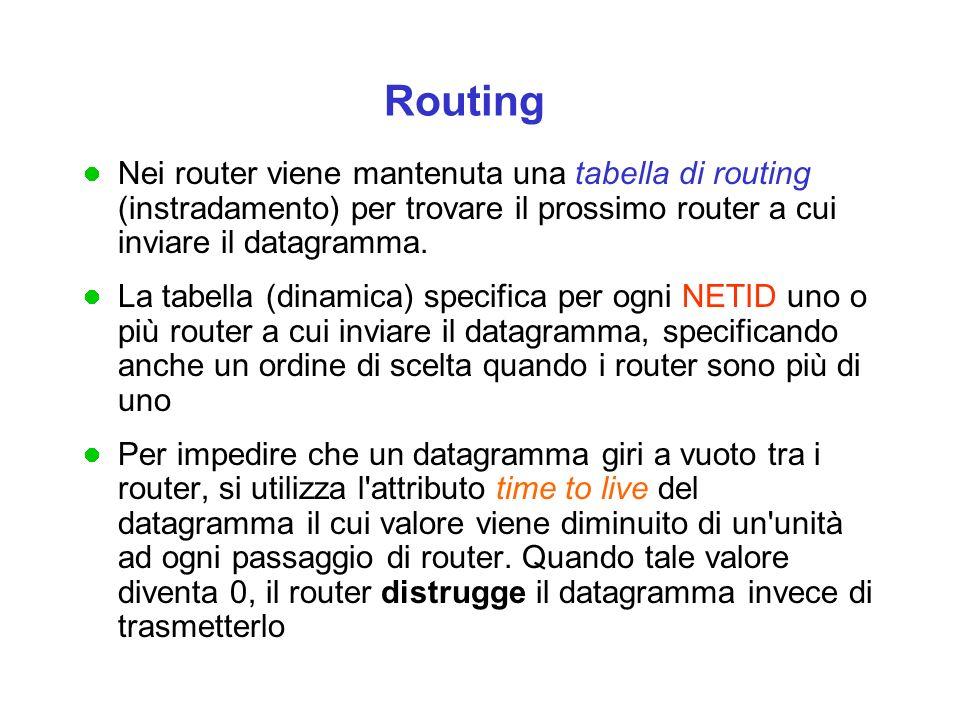 Routing Nei router viene mantenuta una tabella di routing (instradamento) per trovare il prossimo router a cui inviare il datagramma.