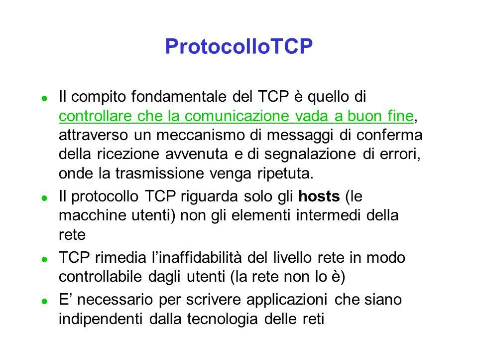 l Il compito fondamentale del TCP è quello di controllare che la comunicazione vada a buon fine, attraverso un meccanismo di messaggi di conferma della ricezione avvenuta e di segnalazione di errori, onde la trasmissione venga ripetuta.