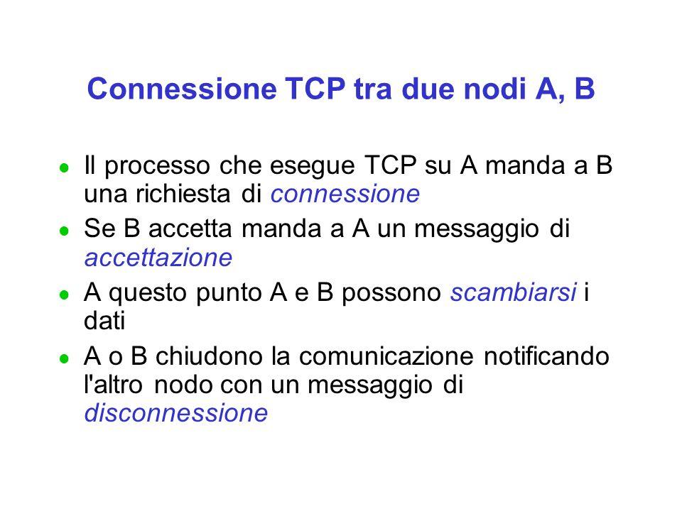 Connessione TCP tra due nodi A, B l Il processo che esegue TCP su A manda a B una richiesta di connessione l Se B accetta manda a A un messaggio di accettazione l A questo punto A e B possono scambiarsi i dati l A o B chiudono la comunicazione notificando l altro nodo con un messaggio di disconnessione