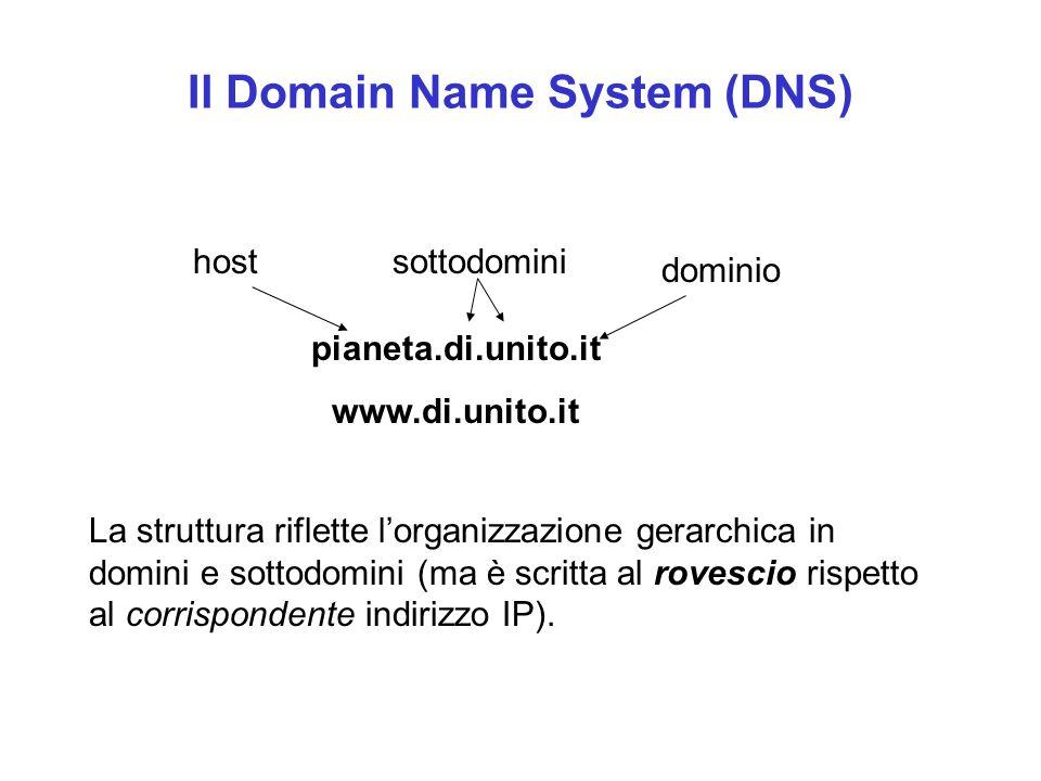 Il Domain Name System (DNS) pianeta.di.unito.it www.di.unito.it hostsottodomini dominio La struttura riflette l'organizzazione gerarchica in domini e sottodomini (ma è scritta al rovescio rispetto al corrispondente indirizzo IP).