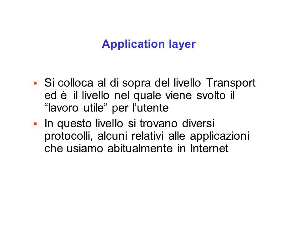  Si colloca al di sopra del livello Transport ed è il livello nel quale viene svolto il lavoro utile per l'utente  In questo livello si trovano diversi protocolli, alcuni relativi alle applicazioni che usiamo abitualmente in Internet Application layer