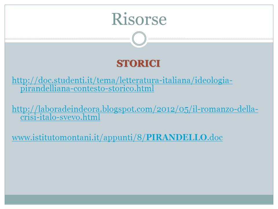 Risorse STORICI http://doc.studenti.it/tema/letteratura-italiana/ideologia- pirandelliana-contesto-storico.html http://laboradeindeora.blogspot.com/2012/05/il-romanzo-della- crisi-italo-svevo.html www.istitutomontani.it/appunti/8/PIRANDELLO.doc