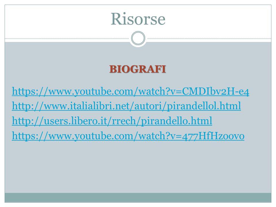 Risorse BIOGRAFI https://www.youtube.com/watch?v=CMDIbv2H-e4 http://www.italialibri.net/autori/pirandellol.html http://users.libero.it/rrech/pirandello.html https://www.youtube.com/watch?v=477HfHzoovo