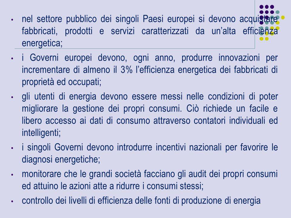 Con riferimento ai tre filoni di attività individuati nella Direttiva Europea e agli obiettivi fissati relativamente all'anno 2020, è ad oggi prevedibile, a livello europeo, la seguente situazione: riduzione delle emissioni di CO 2 : obiettivo raggiungibile e superabile (previsione del target 24% contro obiettivo del 20%); incremento della quota di energia da fonti rinnovabili: obiettivo raggiungibile (20% previsto contro 20% obiettivo) riduzione dei consumi energetici mediante azioni di efficientamento: obiettivo mancato (previsione 18% contro 20% obiettivo)
