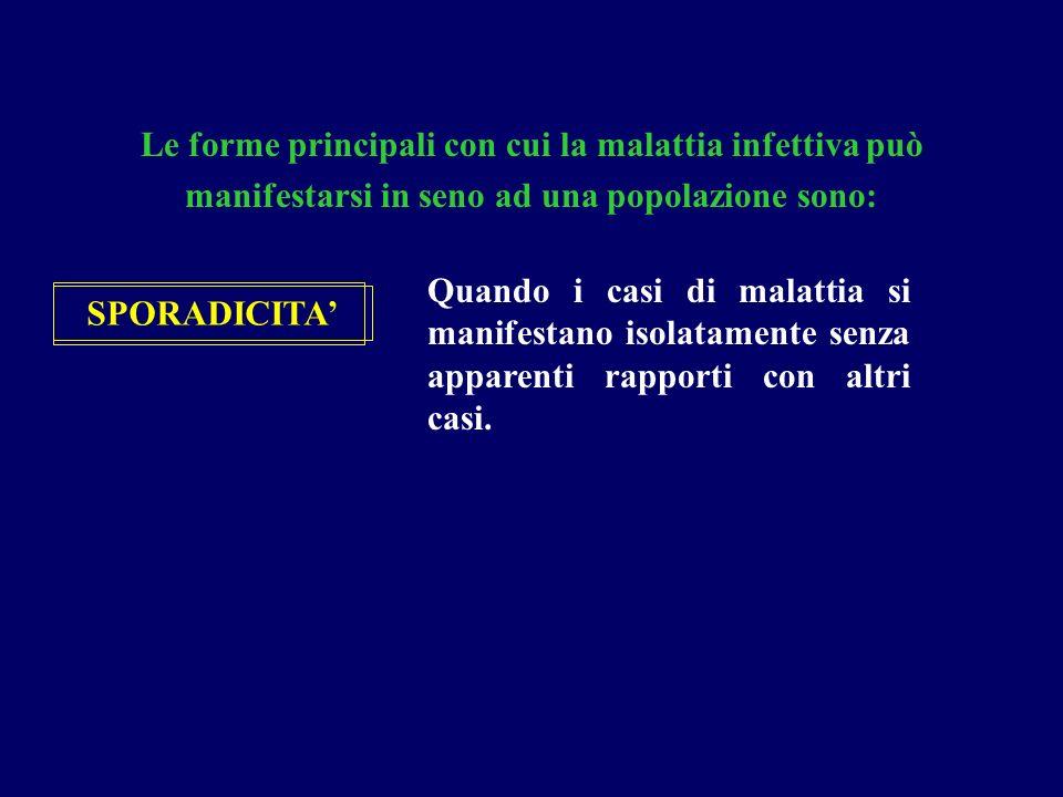Le forme principali con cui la malattia infettiva può manifestarsi in seno ad una popolazione sono: SPORADICITA' Quando i casi di malattia si manifest