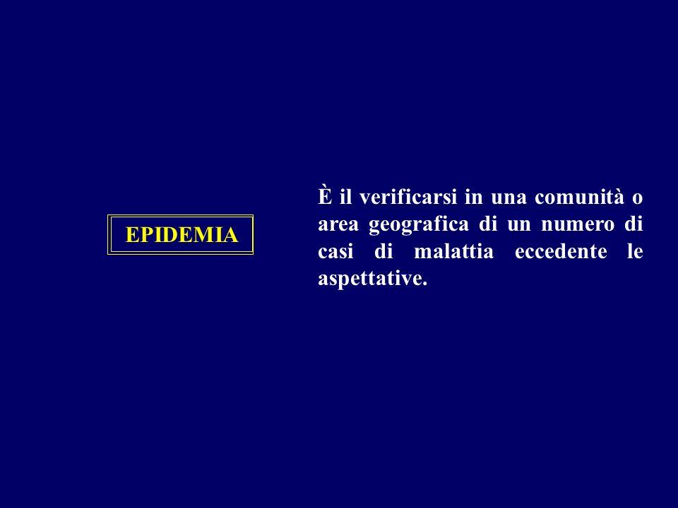 EPIDEMIA È il verificarsi in una comunità o area geografica di un numero di casi di malattia eccedente le aspettative.