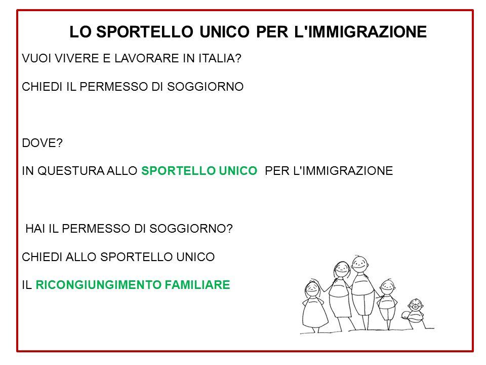 LO SPORTELLO UNICO PER L IMMIGRAZIONE VUOI VIVERE E LAVORARE IN ITALIA.