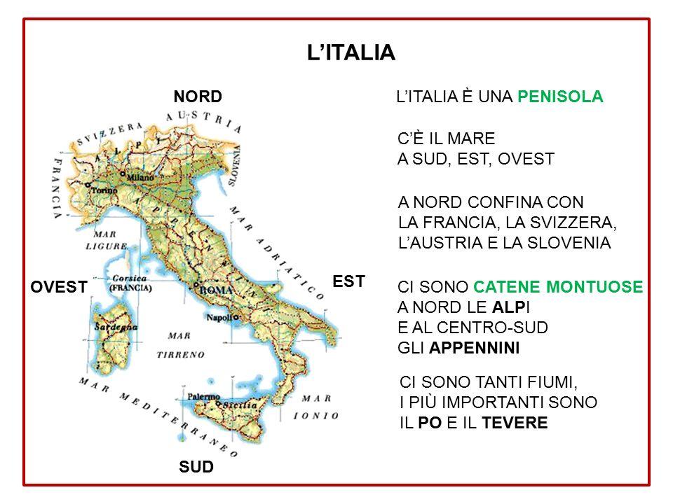 NORD SUD OVEST EST L'ITALIA È UNA PENISOLA C'È IL MARE A SUD, EST, OVEST A NORD CONFINA CON LA FRANCIA, LA SVIZZERA, L'AUSTRIA E LA SLOVENIA CI SONO CATENE MONTUOSE A NORD LE ALPI E AL CENTRO-SUD GLI APPENNINI CI SONO TANTI FIUMI, I PIÙ IMPORTANTI SONO IL PO E IL TEVERE L'ITALIA