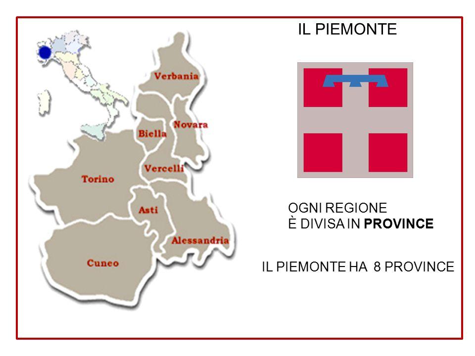 IL PIEMONTE OGNI REGIONE È DIVISA IN PROVINCE IL PIEMONTE HA 8 PROVINCE
