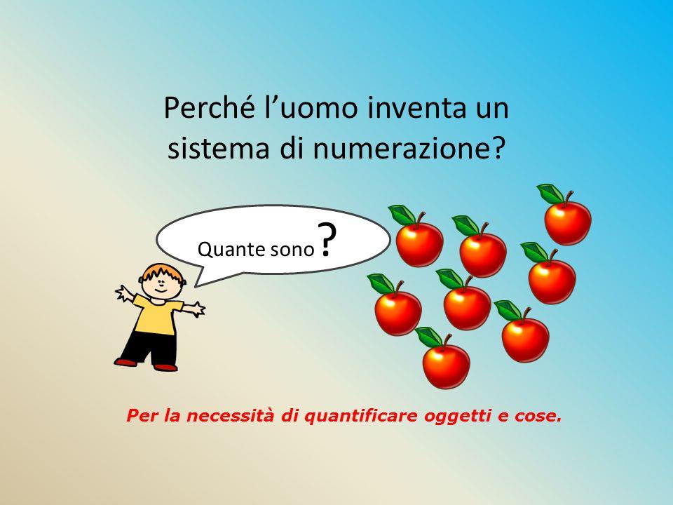 Perché l'uomo inventa un sistema di numerazione? Per la necessità di quantificare oggetti e cose. Quante sono ?