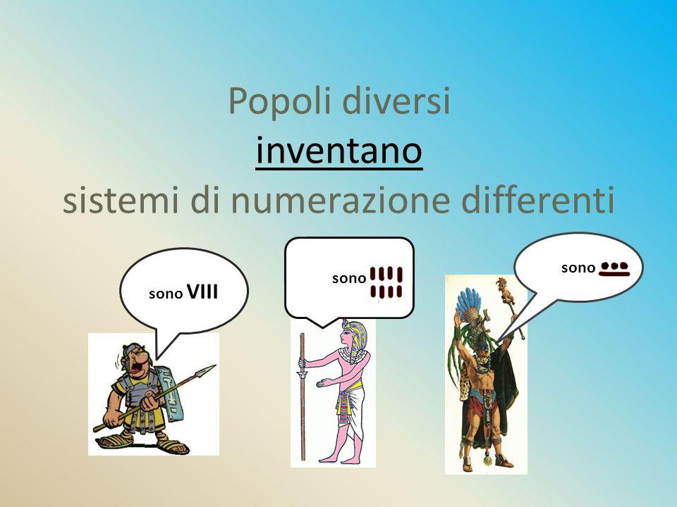 Popoli diversi inventano sistemi di numerazione differenti sono VIII sono