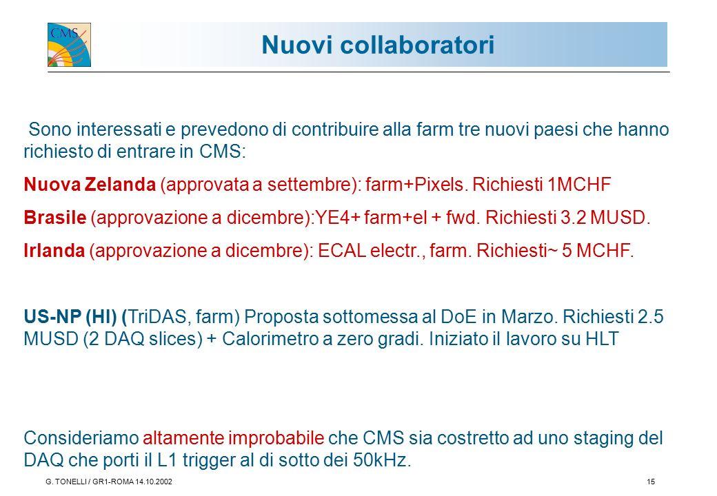 G. TONELLI / GR1-ROMA 14.10.200215 Nuovi collaboratori Sono interessati e prevedono di contribuire alla farm tre nuovi paesi che hanno richiesto di en