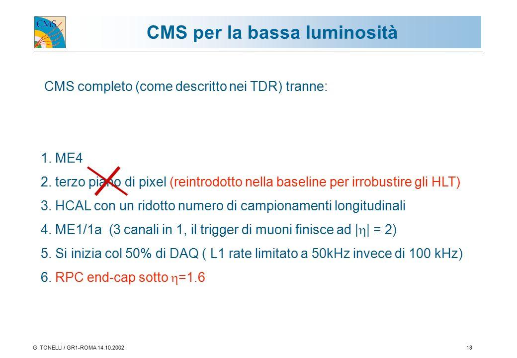 G. TONELLI / GR1-ROMA 14.10.200218 CMS per la bassa luminosità CMS completo (come descritto nei TDR) tranne: 1. ME4 2. terzo piano di pixel (reintrodo