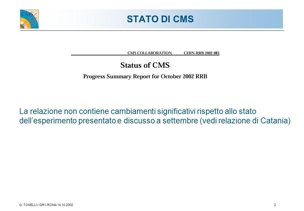 G. TONELLI / GR1-ROMA 14.10.20022 STATO DI CMS La relazione non contiene cambiamenti significativi rispetto allo stato dell'esperimento presentato e d